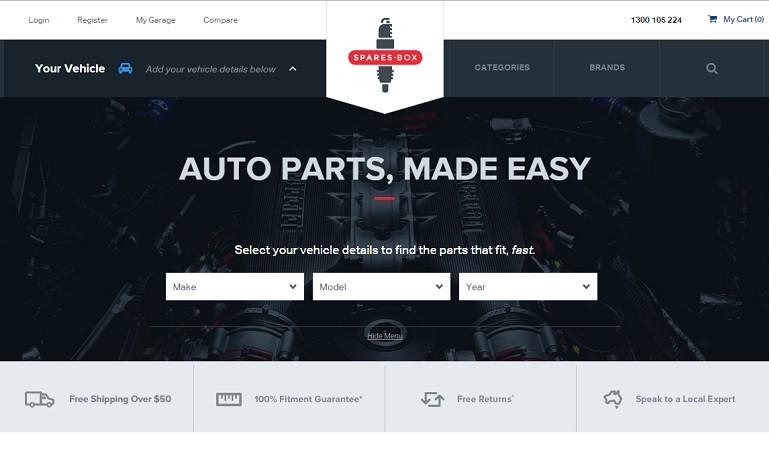 Spares Box online auto parts arrives