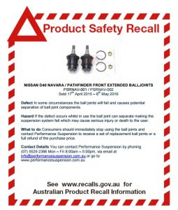 Aftermarket ball joint for Nissan Navara and Pathfinder recalled
