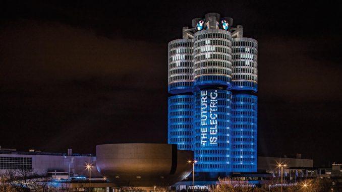 bmw headquarters lights electric cars