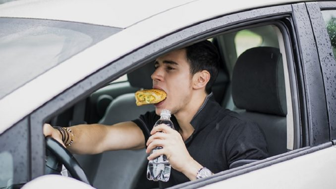 driving and eating