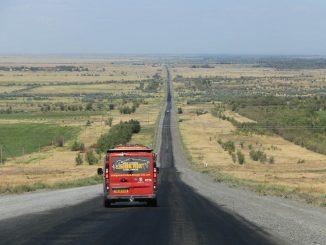 van on open road