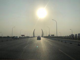 car road trip sunset